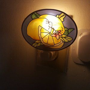 Joan Baker Handpainted Glass Lemon Night Light